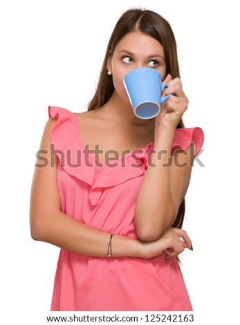 Young Woman Drinking Coffee On White Background