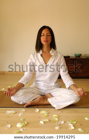 Young woman during a yoga session - stock photo