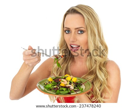 Young Woman Eating a Healthy Prawn Salad