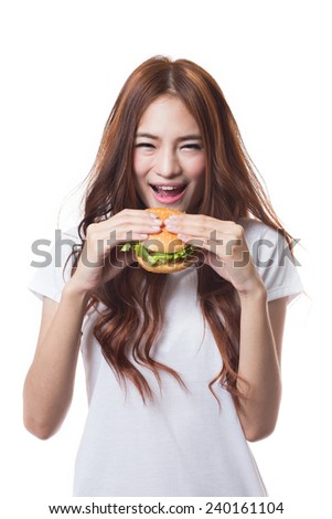 Young woman eating hamburger on white background