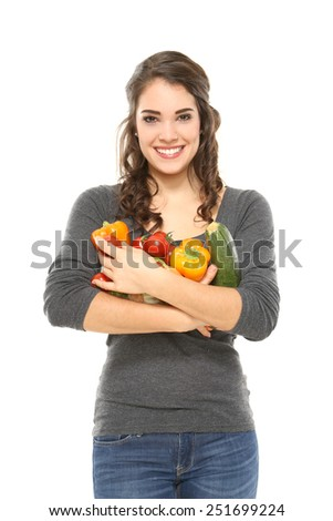 young woman eats healthy - stock photo