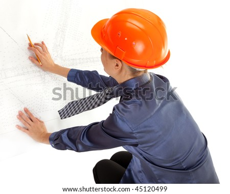 young woman engineer with the blueprints in hand on white background