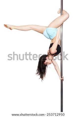 Young woman exercise pole dance, isolated on white - stock photo