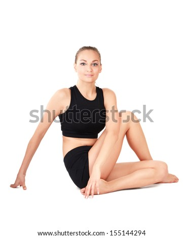 Young woman exercise yoga pose - stock photo