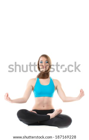 Young woman exercise yoga pose - pigeon isolated
