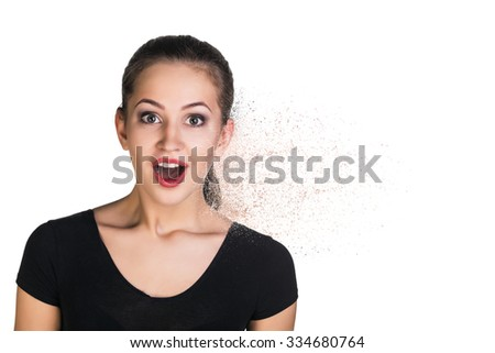 Young woman expresses shock. Isolated on white. - stock photo