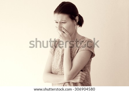 Young woman feel morning sickness nausea, toxicosis of pregnancy - stock photo