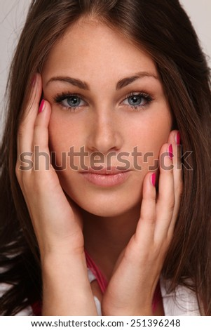 young woman feels good in her skin  - stock photo