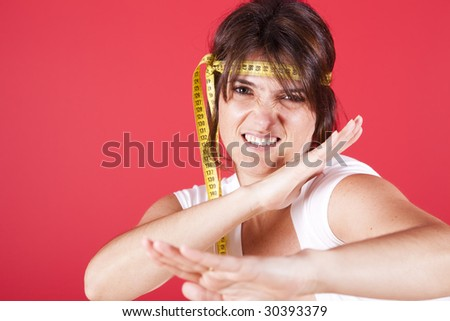 young woman fighting the overweight problems - stock photo