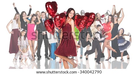 Young woman foreground on the people crowd background isolated on white - stock photo