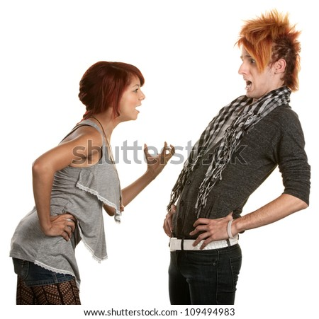 Young woman frustrated with boyfriend in orange hair