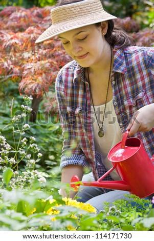 Young woman gardening in a garden - stock photo