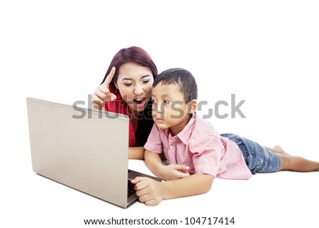 Young woman giving internet warning to her son isolated on white