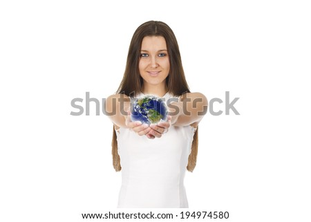 young woman globe - Elements of this image furnished by NASA - stock photo
