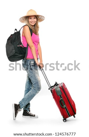 Young woman going to holidays with her suitcase.