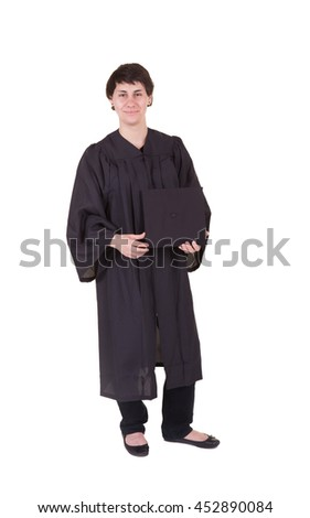 Young woman graduate wearing a cap and gown isolated on white - stock photo