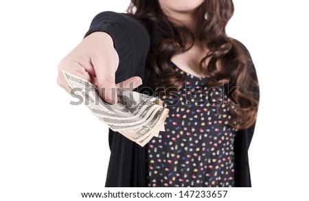 Young woman hand holding  dollars