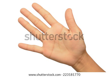 Young woman hand, palm up. Isolated on white background