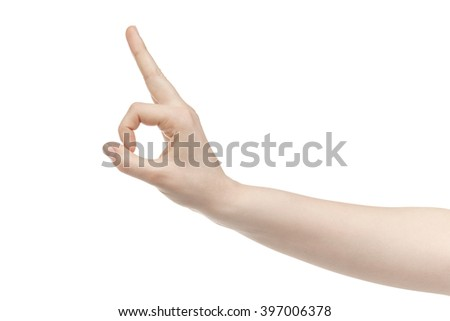 young woman hand show ok sign isolated on white background - stock photo
