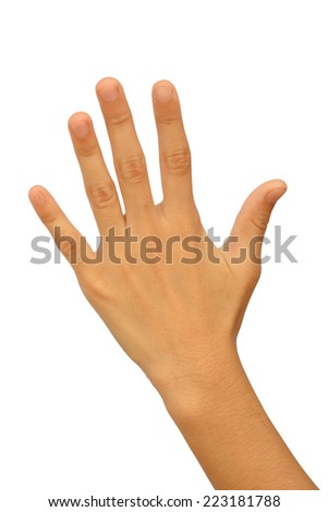 Young woman hand,showing five count. Isolated on white background - stock photo