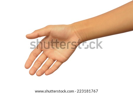 Young woman hand with handshake. Isolated on white.