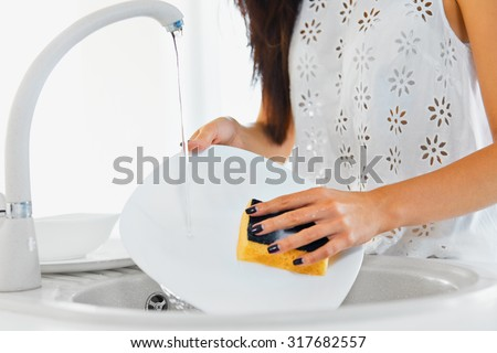 Kitchen Sink With Clean Dishes dish-washing stock images, royalty-free images & vectors