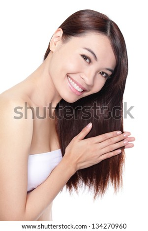 young woman happy touch her hair, concept for hair care,  isolated on white background, asian beauty model - stock photo