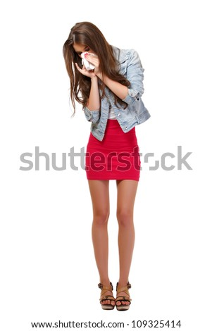 young woman has allergy in studio - stock photo