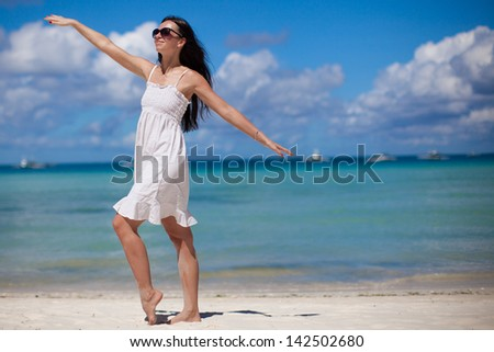 Young woman have fun  on beach vacation
