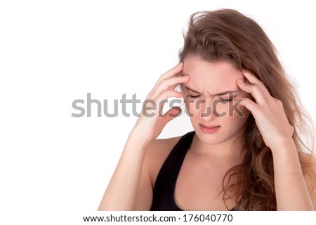 Young woman have problem - Headache - stock photo