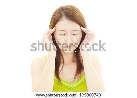 Young woman having a headache
