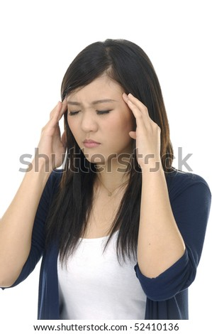 Young woman having a headache ,isolated - stock photo