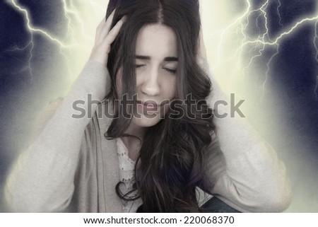 Young Woman Having Headache - stock photo