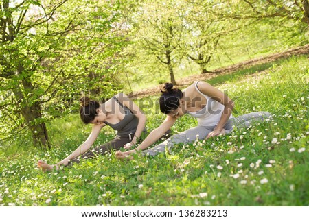 Young woman having meditation at the park