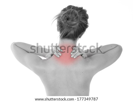 Young woman having nape and trapezius muscles ache, isolated on white