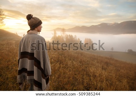 Autumn Mountain Stock Images RoyaltyFree Images Vectors - This man hikes up the transylvanian mountains every morning to photograph sunrise