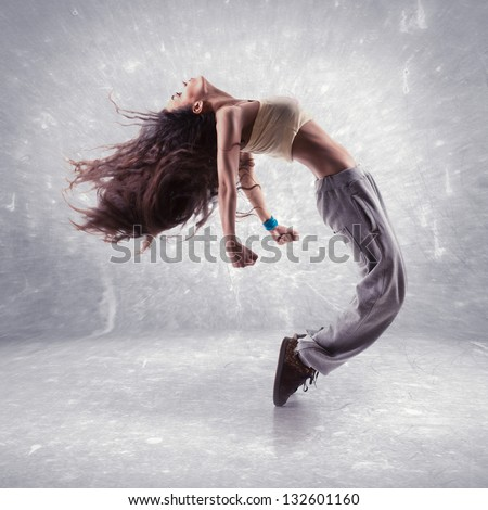 Break dance stock images royalty free images vectors shutterstock young woman hip hop dancer with grunge wall background texture voltagebd Image collections