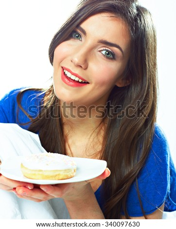 Young woman hold plate with donut. Young female model with long hair. - stock photo