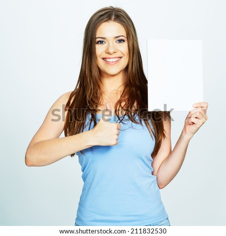 young woman hold white blank  banner. show thumb .