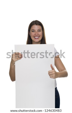 Young woman holding a billboard