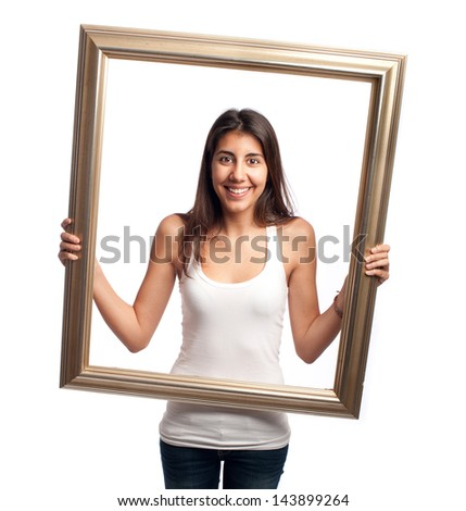young woman holding a frame isolated on a white background