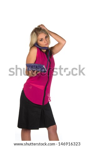 Young woman holding a telephone posing different gestures isolated on white
