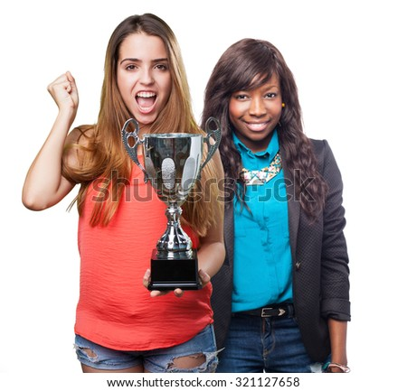 young woman holding a trophy on a white background
