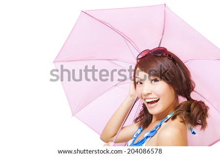 young woman holding a umbrella. isolated on a white background - stock photo