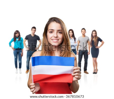 young woman holding an holland flag on white