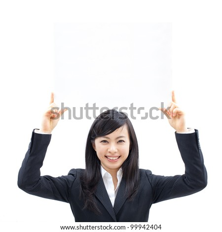 young woman holding blank billboard, isolated on white background