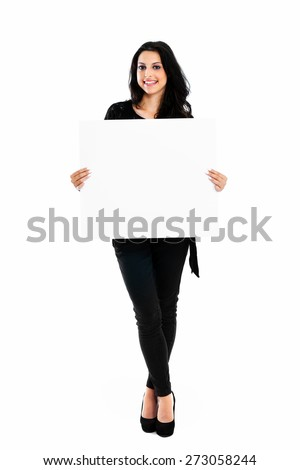 Young woman holding blank board isolated on white background