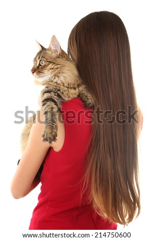 Young woman holding cat isolated on white - stock photo