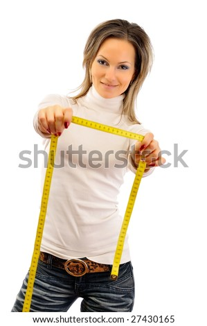 young woman holding centimeter