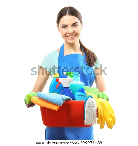Young woman holding cleaning tools and products in tub, isolated on white - stock photo
